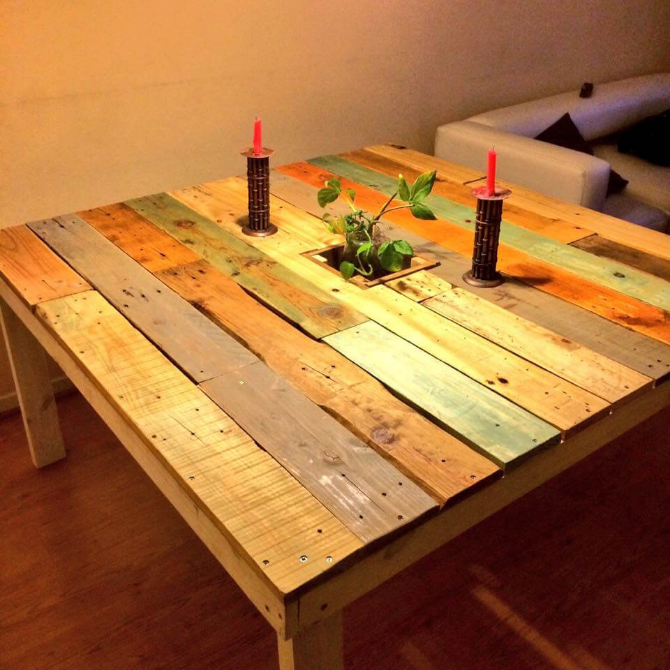 colorful square shaped pallet coffee table