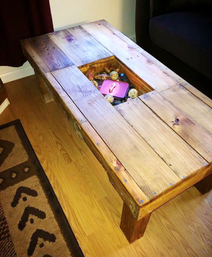 pallet large coffee table with a storage box inlay