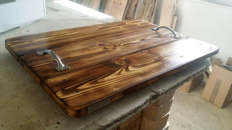 rustic wooden pallet tray with metal handles