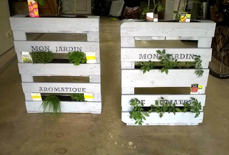 no-cost white painted pallet planters