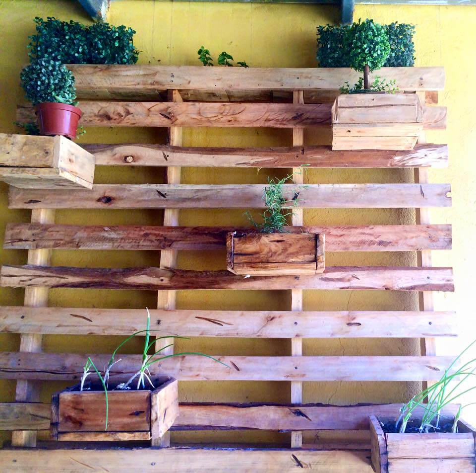 handcrafted wooden pallet wall garden
