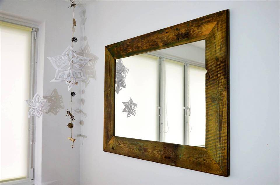 rustic wooden pallet wall mirror accent