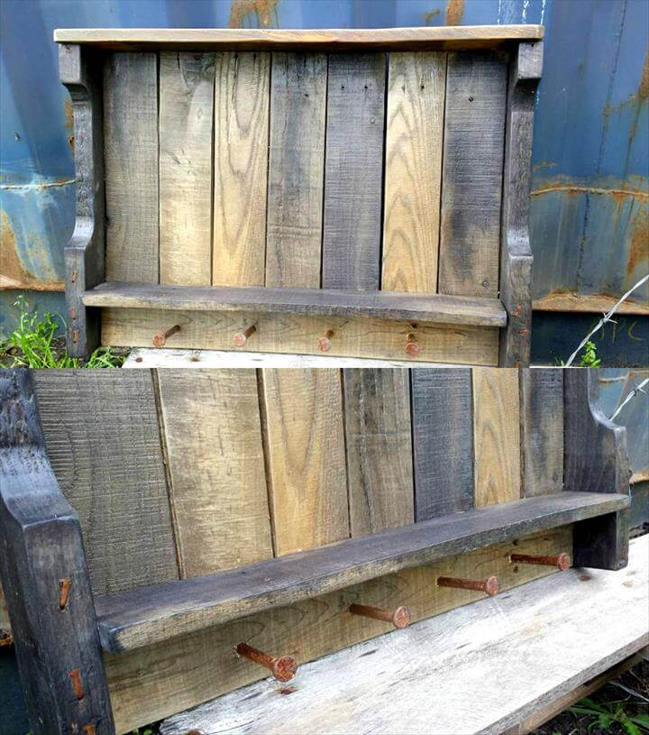 Pallet Wall Shelves With Rusty Nail Hooks