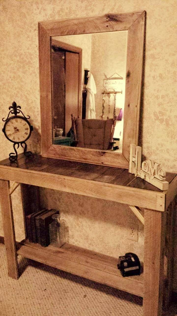 custom wooden pallet console and mirror
