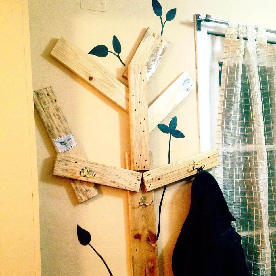 pallet tree hooks or coat rack