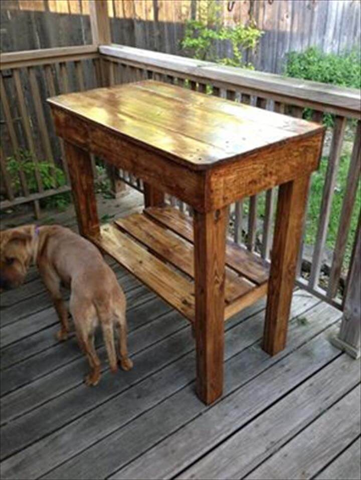 Wooden Pallet High Top Console