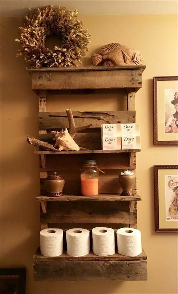 custom rustic pallet bathroom wall organizer or shelf