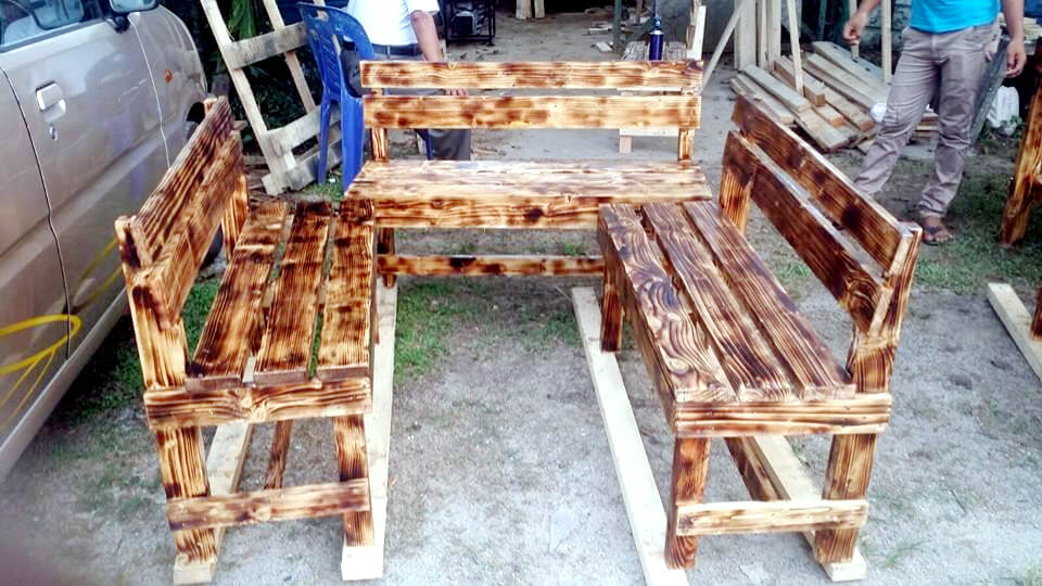 scorched pallet benches