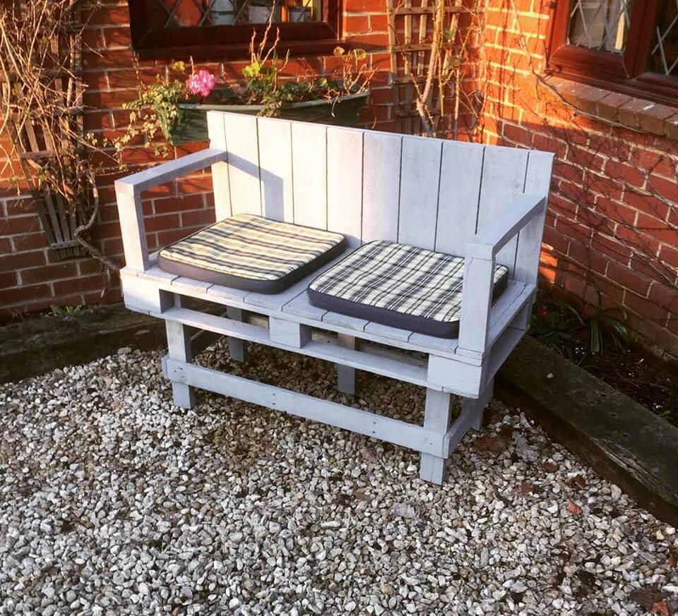 no-cost stylish grey pallet patio bench
