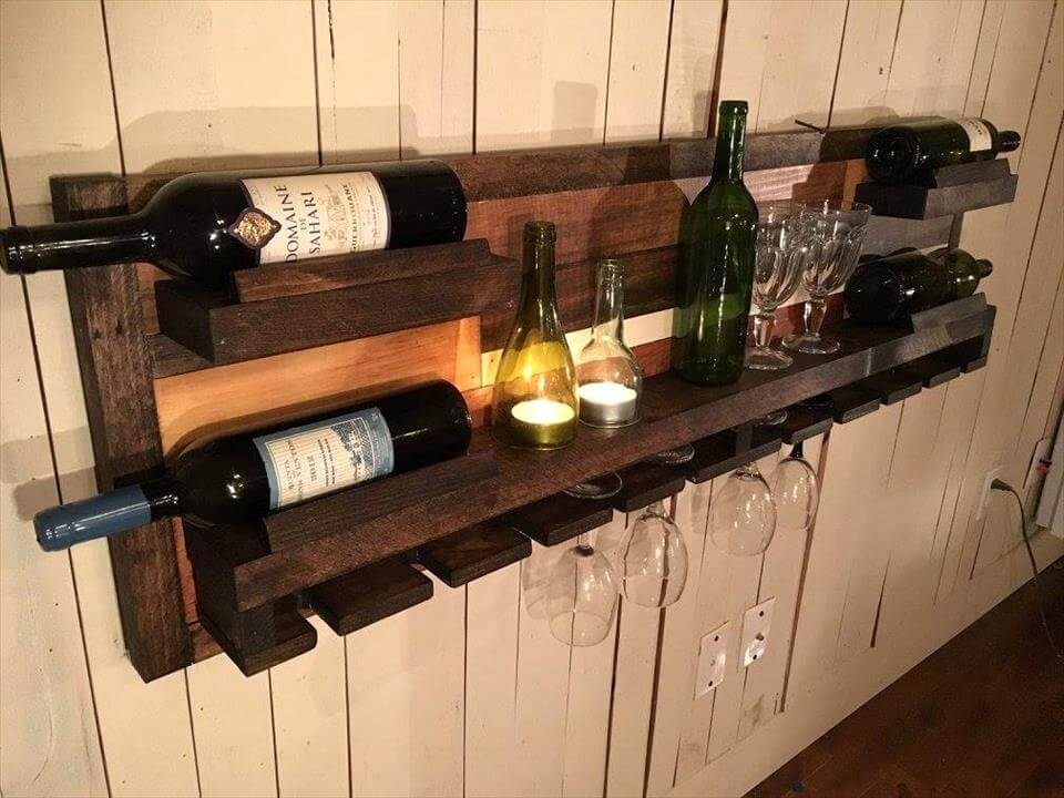 diy rustic pallet wood wall hanging beverage bottle rack