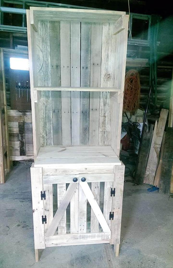 distressed white pallet kitchen hutch