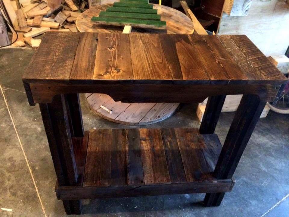 dark stained pallet console table