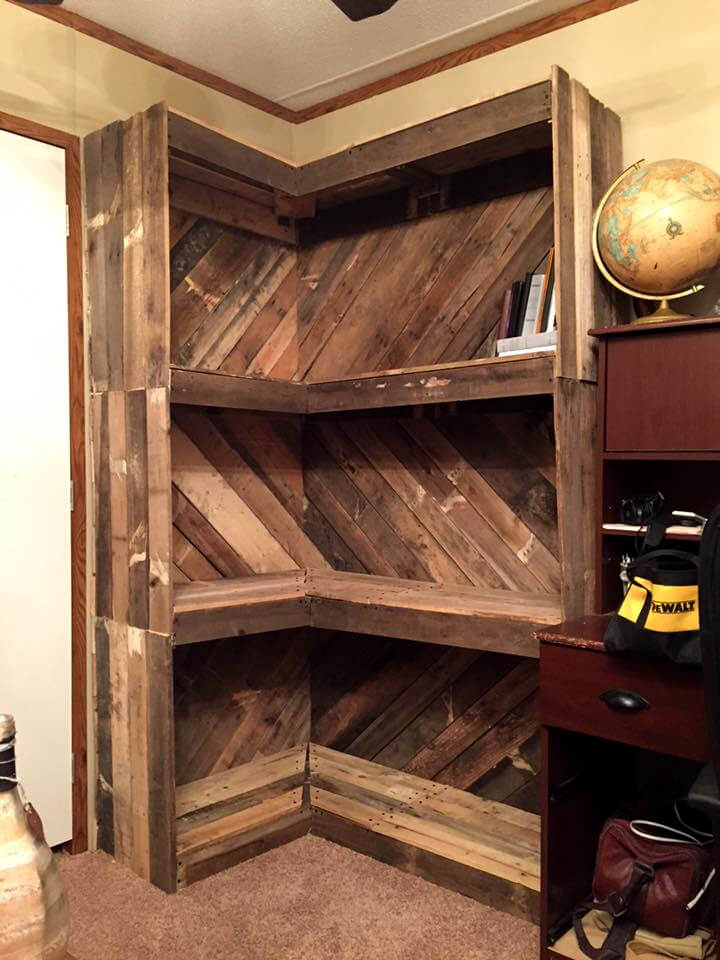 custom corner pallet bookshelf
