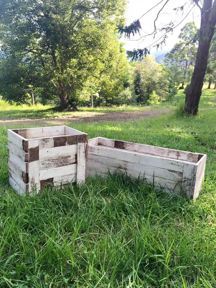 handmade wooden pallet garden planter boxes