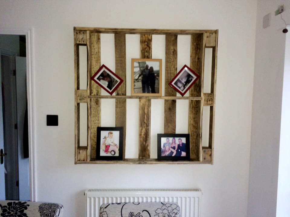 DIY pallet wall display unit