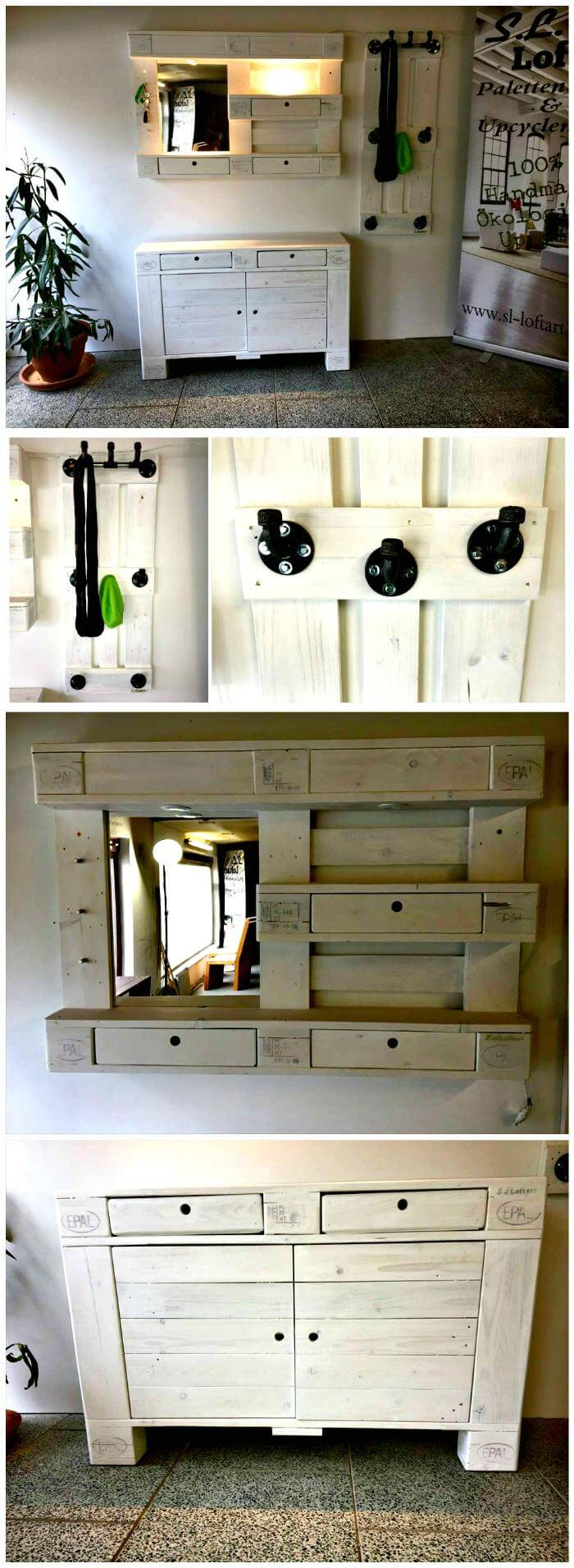 Pallet Chest of Drawers and Coat Rack DIY Mirror