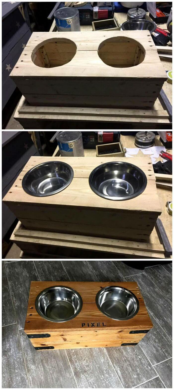 DIY Pallet Dog Bowl Stand or Dog Feeder