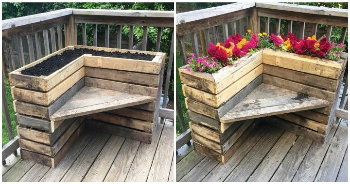 Diy pallet bench with flower box for corner pallets pro for Flower beds out of pallets