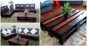 Pallet Sofas and Coffee Table Set